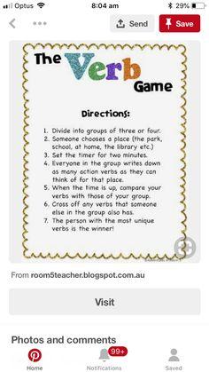 7th Grade Ela, Third Grade Writing, First Grade Phonics, Grammar Games, Grammar Activities, Grammar Lessons, Teaching Verbs, Teaching Language Arts, Teaching Writing