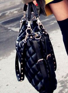 Black Oversized Studded Strap Check Shoulder Bag [HB13010000] - $41.00 : EverMissFashion.com