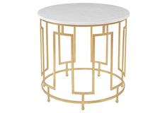 Bowman Round Marble Side Table, Gold