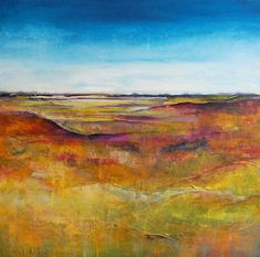 Contemporary Watercolor Artists | Moorland Contemporary Abstract Landscape Painting - Acrylic on Canvas ...
