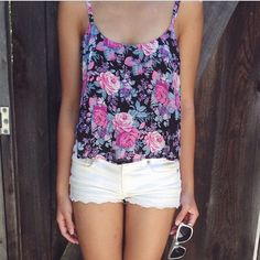 Floral Tank Top, White Scalloped Hem Short, and White Sunglasses