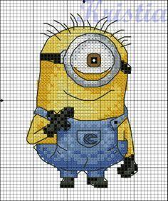 Bilderesultat for free cross stitch patterns: minions Cross Stitch Needles, Cross Stitch Charts, Counted Cross Stitch Patterns, Cross Stitch Designs, Cross Stitch Embroidery, Embroidery Patterns, Machine Embroidery, Minions, Stitch Character
