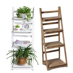 Wood Folding Ladder Plant Flower Pot display Book Shelf Wall Storage Unit Rack