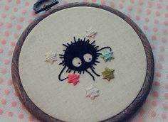 I'm having a lot of fun with this embroidery business! My little Susuwatari is all done and available in my Etsy! :) Just getting a little bit of Ghibli out of my system. Hand Embroidery Stitches, Embroidery Hoop Art, Cross Stitch Embroidery, Cross Stitch Patterns, Embroidery Designs, Totoro, Sewing Crafts, Crafty, Crochet