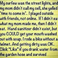 Yep. This is how I grew up. And hopefully how my kids will spend their childhood...though they may have to wear those helmets.