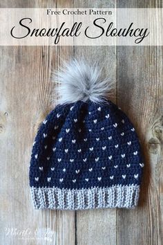 """FREE Crochet Pattern: Crochet Snowfall Slouchy Hat 