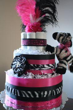 Hot Pink & Zebra Diaper Cake por APomPomAffair en Etsy, $70.00