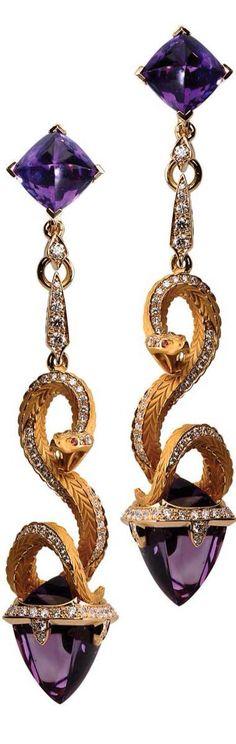 """Amethyst, Diamond and 18K Gold """"Snake"""" Earrings"""