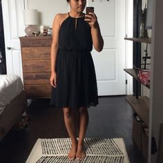 ✨S A L E✨ H&M Black Dress! Worn once! Perfect LBD with a high neckline and slit in front. Willing to negotiate! H&M Dresses