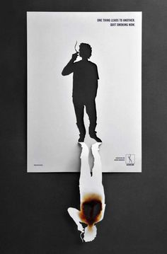 This design is all about white space. The absence of color is appropriate because the cut-out is strong enough to draw the audience in. The burnt paper revealing the absence of lungs in the fold is disturbing and really gives meaning to how harmful smoking is. The cut-out image of a person expresses loss.