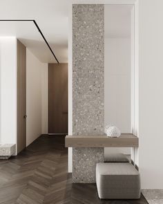 Hallway Minimalist Interior, Modern Interior Design, Interior Design Inspiration, Interior Columns, Interior Architecture, Granito Dallas, Flur Design, Japanese Home Decor, Column Design