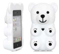 3D White Polar Bear Cute Cartoon Silicone Full Cover Case Apple iPhone 4 4S | eBay