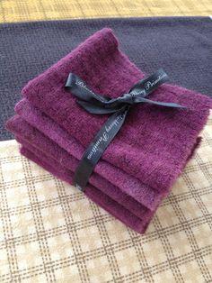 Primitive HandDyed Wool Stack PLUM Blackberry by PrimFolkArtShop