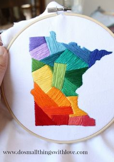 Could do for states and countries?  Show your home state some love with this easy embroidery project