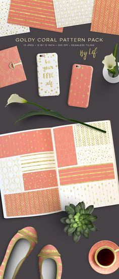 Gold and Coral Seamless Pattern Pack digital scrapbooking paper. by By Lef on Creative Market