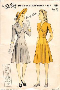 Vintage 1940s dress pattern - Du Barry 5384