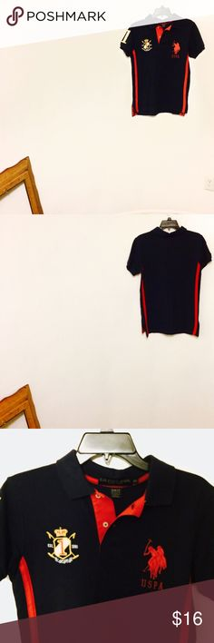 Another Navy combo Men's Polo by RL RL Polo with graphic stitching in Dark Navy with red racer stripe down the sides. Slim Fit Small. U.S. Polo Assn. Shirts Polos
