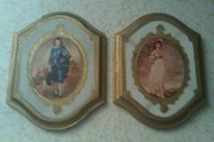 VINTAGE MADE IN ITALY FRAMED PICTURES, BLUE BOY AND PINKY