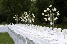 Allestimento tavolo imperiale per matrimonio civile in villa