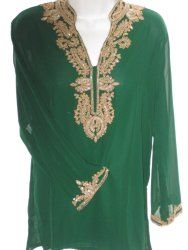 Green sheer embroidered tunic