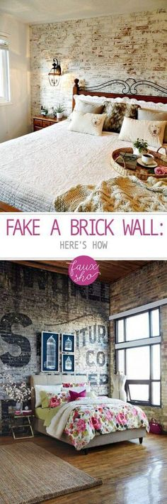 Fake a Brick Wall Here&;s How Fake a Brick Wall Here&;s How Nika Cerise nikacerise Home Decoration Fake a Brick Wall Here's How Fake Brick Wall, Faux Brick, Brick Walls, Diy Wand, Home Decor Hacks, Diy Home Decor, Brick Bedroom, Cool Walls, Home Remodeling
