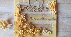 """Budyniowe kwiatki na tle budyniowych papierów Studio 75 - """"Palce lizać"""" i scrapińcowe tekturki, w szczególności przepiękne serce Park Avenu... Quilling Paper Craft, Quilling Flowers, Origami Flowers, Paper Crafts, Quilling Patterns, Quilling Designs, Quilling Ideas, Quiling Paper Art, Quilling Animals"""