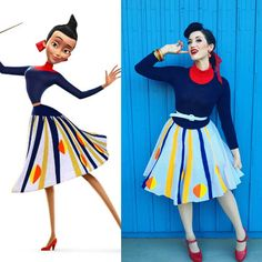 Franny Robinson (Meet The Robinsons) - red turtleneck (or dickie), navy sweater, full skirt, red hair bow Disney Cosplay, Disney Costumes, Cartoon Costumes, Robes Disney, Disney Dresses, Disney Halloween, Halloween Cosplay, Halloween Costumes, Disney Style