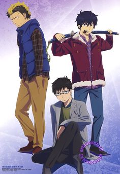 Blue Exorcist (青の祓魔師)This Blue Exorcist: Kyoto Saga poster, with Ryuuji Suguro, Yukio and Rin Okumura, was initially featured as Animedia's February back cover, but made a second appearance as a. An No Exorcist, Blue Exorcist Anime, Rin Okumura, Noragami, Satan, Manga Anime, Anime Art, Natsume Yuujinchou, Blue Exorcist
