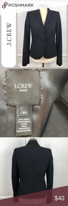 """J.Crew Slim Fit Stretch Dark Charcoal Gray Blazers J.Crew Slim Fit Stretch Dark Charcoal Gray Blazers🍂.   Size 6 / B 38"""" / W 34.5"""" / Shoulder 15.5"""" / Sleeves 26"""" / Lengths 24"""" /  94% Wool, 6% Spandex / Front 2 Pockets   / Inside One Pocket with Pencil pocket / Back Flap Slits / Excellent Condition!!!🌱🌴 J. Crew Jackets & Coats Blazers"""