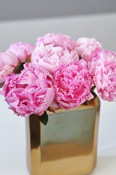 peonies in a gold vase