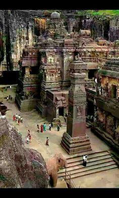 Rock cut temple. 1400+ years old. Kailash Temple, Sambhajinagar, Maharashtra, India.