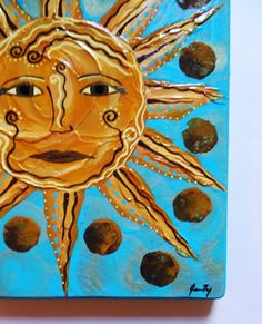 "Sun Faces Art | Sun Face Original Folk Art Painting on Wood ""Here Comes the Sun"" by ..."