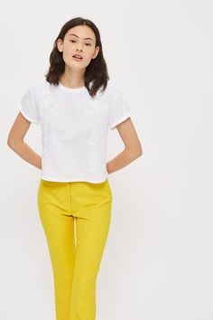 Petite embroidered t-shirt Asos, Topshop, V Neck, T Shirt, Style Inspiration, Clothes, Embroidery, Collection, Shopping