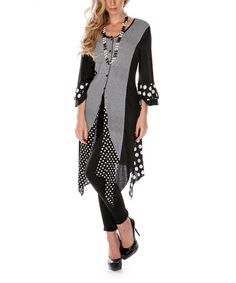 Look at this #zulilyfind! Black & White Polka Dot Duster #zulilyfinds OO- repurpose that jacket in my closet that I never wear but can't bring myself to throw out.