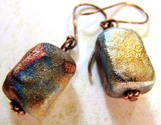 Chunky raku earrings in copper, gold, purple and peacock blue on copper earwires #dteam #raku #jewelry #earrings #handmade #copper