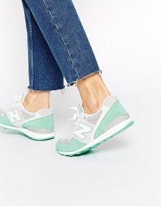 New Balance 996 Pastel Gray/Green Suede Sneakers