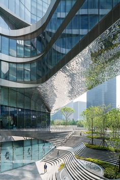 """Raffles City Hangzhou was designed by UNStudio for real estate company CapitaLand. Described by the studio as """"a sustainable urban hub for living, working and leisure"""", the huge complex is located in the city's Qianjiang New Town area."""