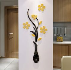 3d Vase Wall Murals for Living Room Bedroom Sofa Backdrop Tv Wall Background, Originality Stickers Gift, DIY Wall Decal Wall Decor Wall Decorations (Yellow, 59 X 23 inches) ** You can find more details by visiting the image link.