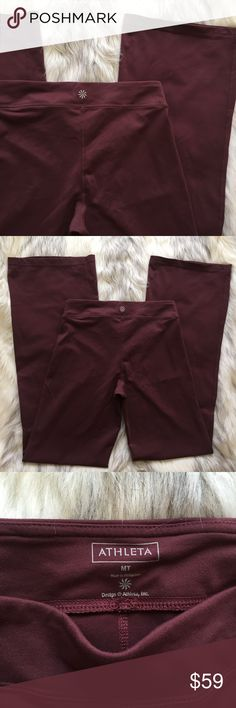 "Athleta burgundy pants Athleta burgundy pants MT  .... open to offers!!!😉.                      measurements waist 13"".5 rise 10"" inseam 32.5 Athleta Pants Wide Leg"