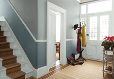 Dulux The colours in the hallway picture are from the Signature. The top colour is Mid Jute and the below dado rail colour is Pure Jute. The woodwork is Pure Brilliant White. Grey Hallway Paint, Hallway Walls, Hallway Wall Decor, Hallway Decorating, Decorating Ideas, Entrance Decor, Grand Entrance, White Hallway, Hallway Ideas