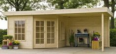 Hoekmodel blokhut / tuinhuisje met plat dak model Isabel 300 met afmetingen 300 x 300 cm (b x d) en overkapping van 300 cm breed van Outdoor Life Products #blokhut #tuinhuisje #overkapping #afdak #terras