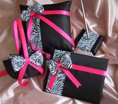 Zebra Print Wedding Accessories  Black and Hot Pink by All4Brides, $120.00
