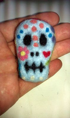 Skull Day of the Dead lapel pin needle felt by ArtVandalDesigns, $24.95