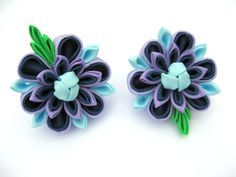 Set of 2 Girls flower hair clip Blue Lilac от SummerForYou на Etsy