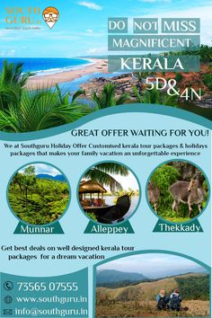 Mesmerizing Kerala - 3 Star Package Theme - Hill & Backwater Duration - 4 Nights 5 Days Pick Up & Drop - Cochin Travel Brochure Design, Travel Brochure Template, School Brochure, Web Layout, Layers Design, Travel Posters, Contents, Layouts, The Incredibles
