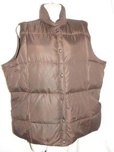 Lands' End Women's Jacket Brown Goose Down Puffer Snap Down Vest Size 3X 24W-26W #LandsEnd #Puffer #Casual
