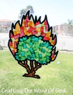 really cute craft for the story of Moses and the burning bush. Instructions Print the template onto card stock. (Template) Glue the template sheet to the back of a sheet of black construction pap. Bible Story Crafts, Bible Crafts For Kids, Preschool Bible, Vbs Crafts, Bible Activities, Church Crafts, Religion Activities, Bible Stories, Sunday School Activities