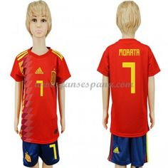 03c0ea6ae2b87 Equipaciones De Futbol Para Niños España Copa Mundial 2018 Morata 7 Camiseta  Primera Niños Futbol
