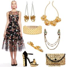 "Featured in this Outfit Jimmy Choo ""Canisa"" Gold Cl... by Sequin$765 Draping Hair Clips by Deepa Gurnani$95 Hinged Pearl Skull Bracelet, Golden by Alexander McQueen$445 Flower Statet Necklace by Kenneth Jay Lane$275 Paris Earrings by Imogen Belfield$364 Pearl & Metal Block Heel Sandal P... by Alexander McQueen$4,845 Rhombic Cathedral Arch Belt by Alexander McQueen$1,609 Oscar de la Renta Embroidered Floral ... by Oscar de la Renta$6,490 Total$14,888"