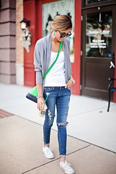 casual weekend look: basic tee. cardigan. distressed jeans. chucks.